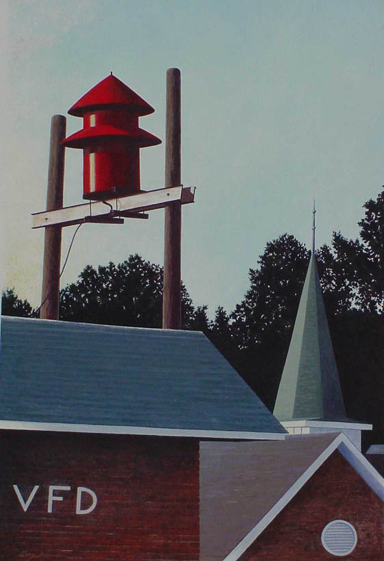 Gary Freeman's VFD, acrylic painting on canvas based on the old Crouse, NC, volunteer fire department